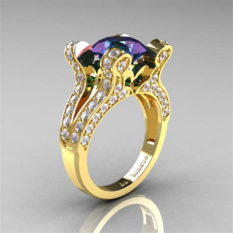 French Vintage 14K Yellow Gold 3.0 CT Russian Alexandrite
