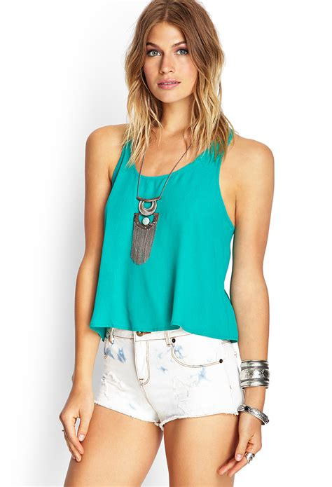 Tangtop Wanita Forever 21 forever 21 crochet back tank top in green jade lyst