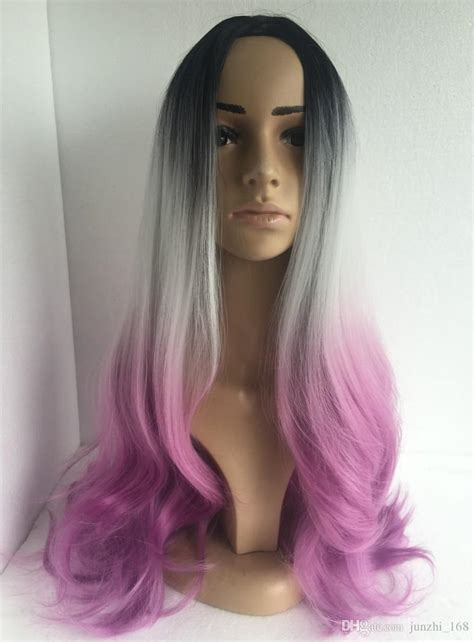 ican i dye bijoux realistic hair ombre grey bodywave synthetic wig glueless long natural