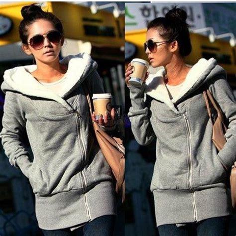 Hr Outwear Jaket Hoodie Since winter hooded oblique zipper outerwear hoodie