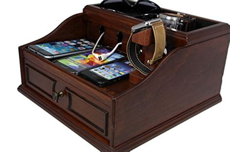 amazon com multi device charging station organizer imlezon 6 port wooden multi device charging station and cord organizer