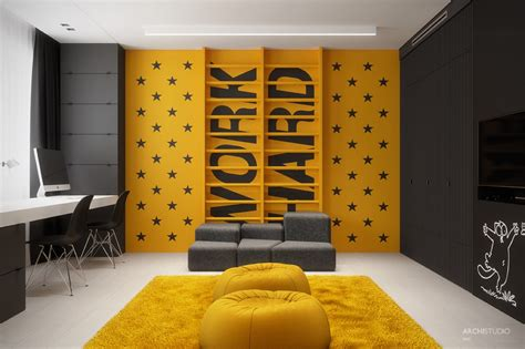yellow accent wall dark themed kids rooms