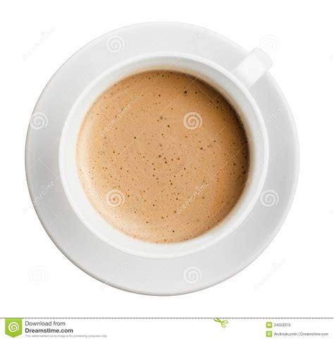 cup of coffee with foam isolated all in focus top view