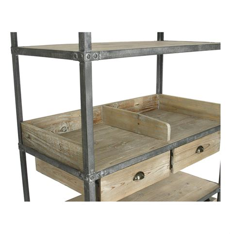 metal and wood bakers rack ardsley industrial loft grey metal bakers rack bookcase kathy kuo home