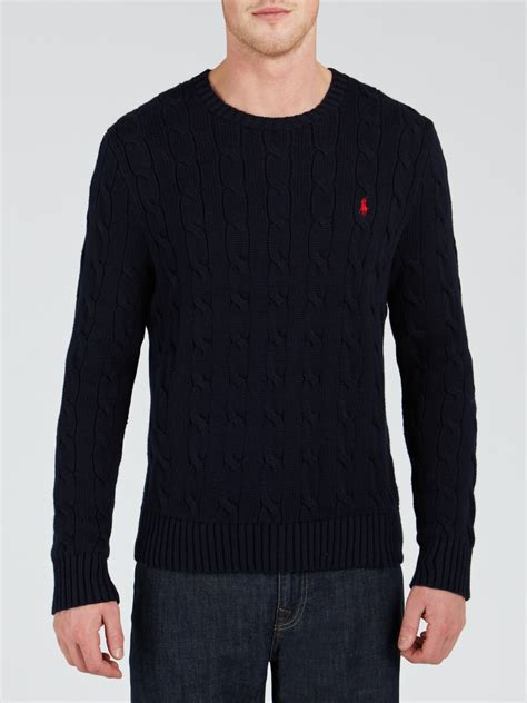 polo ralph cable knit jumper polo ralph cotton cable knit jumper in blue for