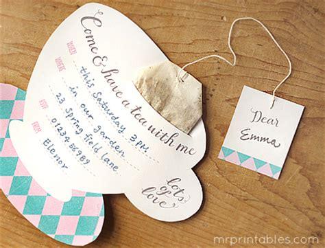 tea bag card template printable tea invitations mr printables