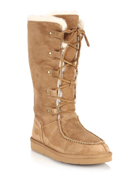 Ugg Appalachian Lace Up Shearling Lined Suede Boots In