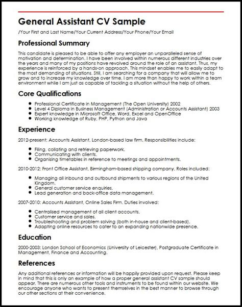Resume Sample Accomplishments Examples by General Assistant Cv Sample Myperfectcv