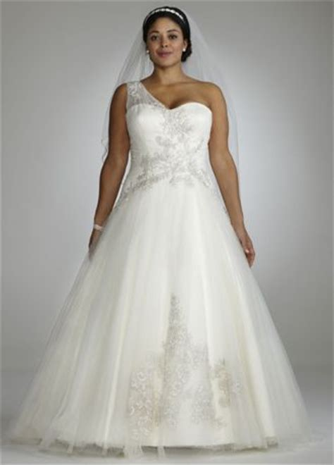 One Set 421 one shoulder tulle gown with lace appliques david s