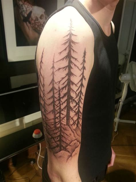 tree sleeve tattoo my swedish forest landscape quot dotwork