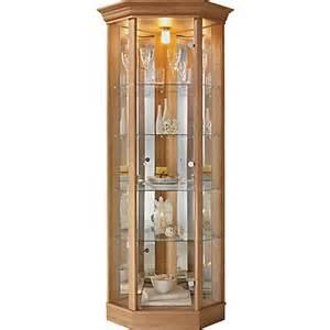 Display Cabinet Homebase Corner Glass Display Cabinet Light Oak Effect