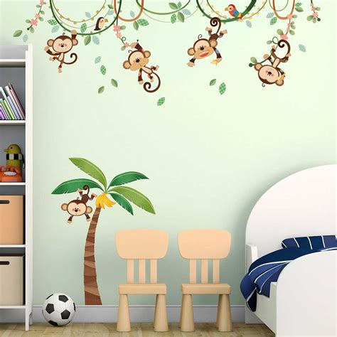 Wandsticker Kinderzimmer by Wandsticker Kinderzimmer Affen Dschungel Palme Liane Www