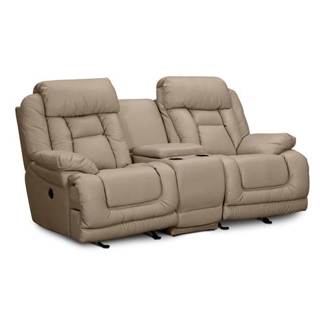 leather recliner loveseat with console power reclining loveseat leather milano blue leather