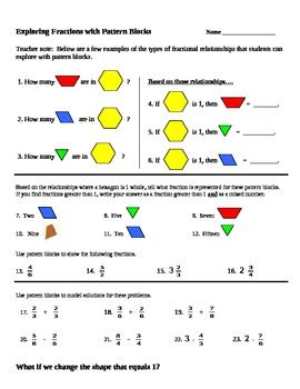 pattern block math worksheets pattern block fraction worksheets math worksheets