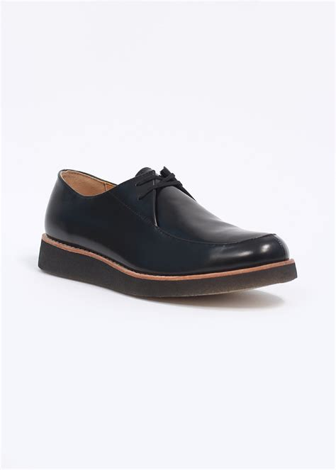 clarks originals desert rustler leather shoes black