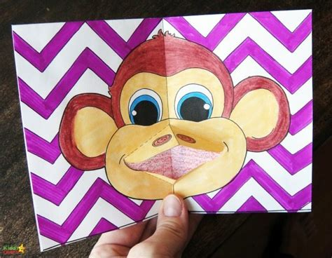new year pop up card template free monkey pop up card template and monkey colouring page