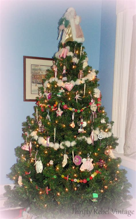 my pink and girly christmas tree thrifty rebel vintage