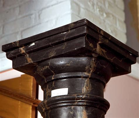 Polished Black Marble Nero Marquina Marble Columns Pillars