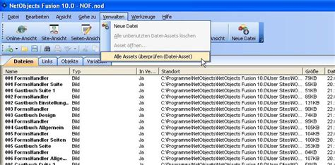 Nof Design Vorlagen assets verwalten