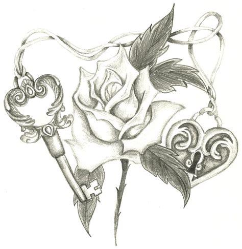heart and roses tattoo drawings heart lock skeleton key