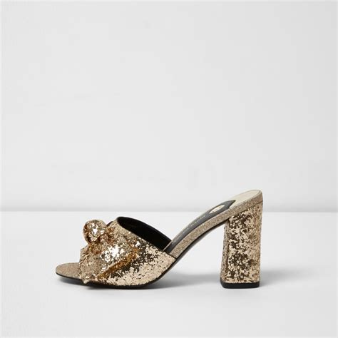 Block Heel Mules gold glitter bow block heel mules shoes boots sale