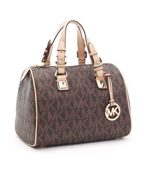 Michael Kors Grayson Large 9 lyst michael kors medium grayson logo satchel brown logo in brown