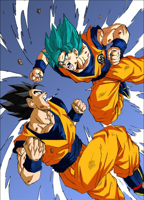 imagenes de gohan y goku goku vs gohan by youngjiji coloured by