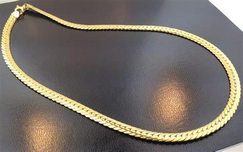 18k yellow gold italian designer 17 herringbone necklace