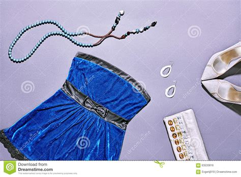 Clutch Trendy Dress Blue fashion clothes stylish set dress and accessories stock