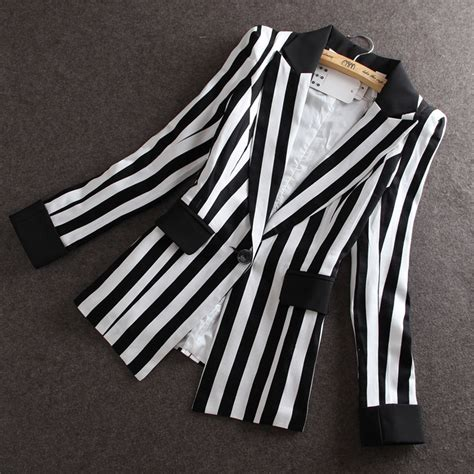 Jaket Grayscale Korean Blazer 1 high quality 2015 autumn new new korean slim small suit jacket black and white striped