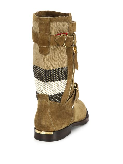 womens brown moto boots lyst burberry grantsone suede canvas check moto boots