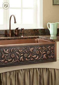 valence rustic kitchen faucet in copper brass farmhouse 42 quot sunflower 60 40 offset double bowl copper farmhouse