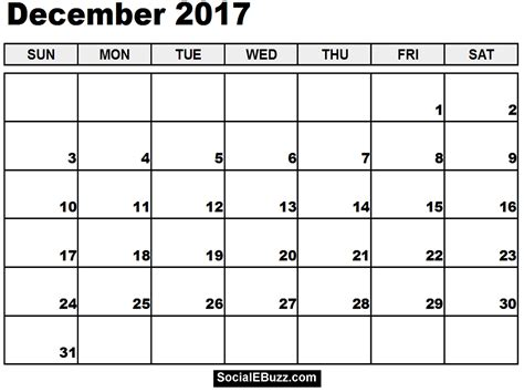 printable december 2017 calendar free december 2017 calendar printable template with holidays