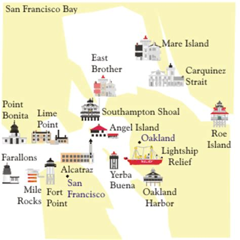 san francisco lighthouses map lighthouses