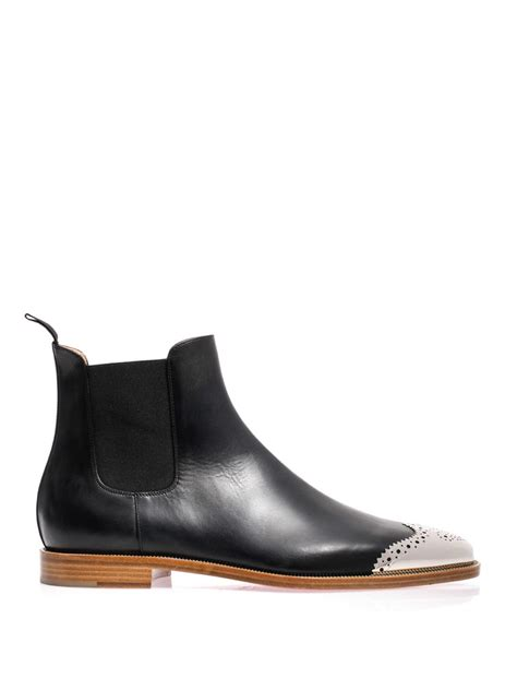 louboutin boots for christian louboutin metal toe leather chelsea boots