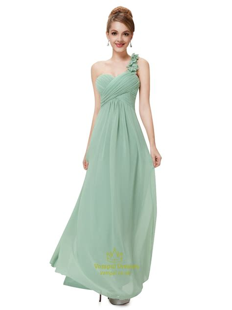 Teresa Flowery Maxi Dress green one shoulder chiffon bridesmaid dresses uk one