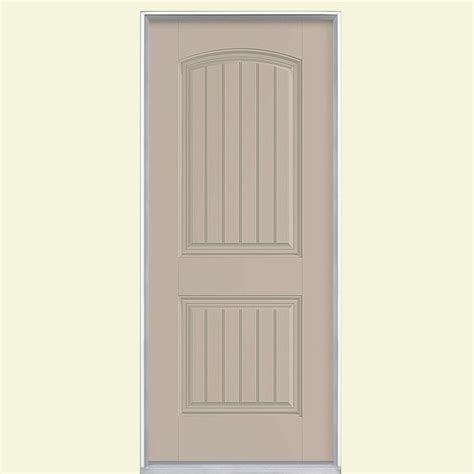 Prehung Fiberglass Exterior Doors Masonite 36 In X 80 In Cheyenne 2 Panel Painted Smooth Fiberglass Prehung Front Door With No