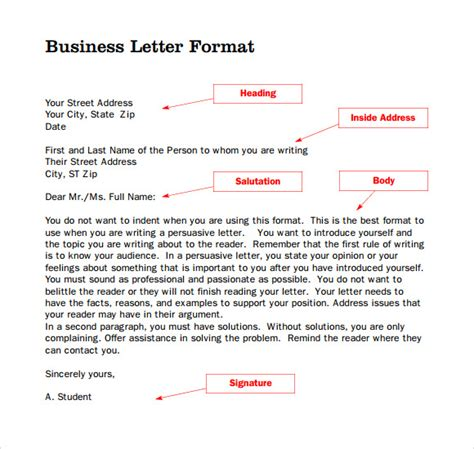 Parts Of Business Letter parts of a business letter 8 free documents in