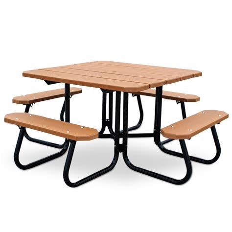 recycled plastic 48 quot square picnic table with steel frame