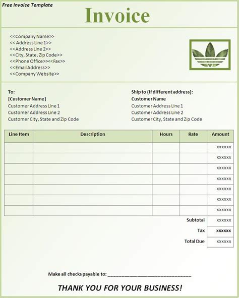Excel Invoice Template 2013   printable invoice template