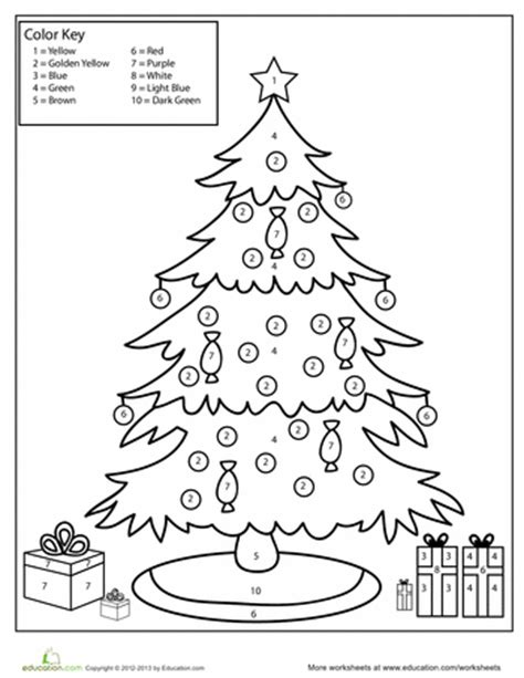 Color By Number Christmas Tree Worksheets Christmas Tree Color By Number Coloring Pages