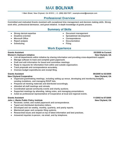 Grants Administrative Assistant Resume Example