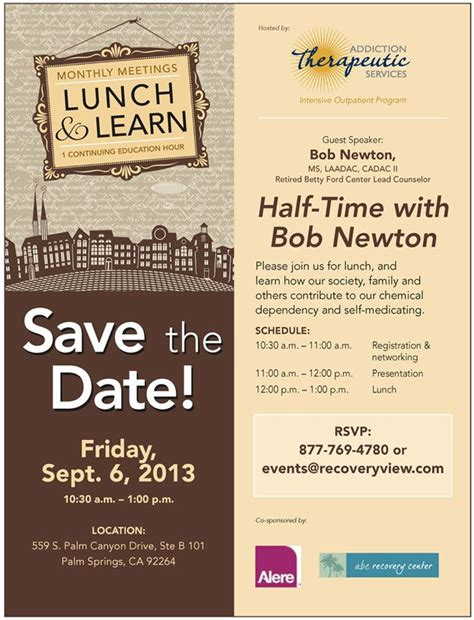 Sept 6 Lunch And Learn At Addiction Therapeutic Services Invitations Pinterest Luncheon Flyer Template