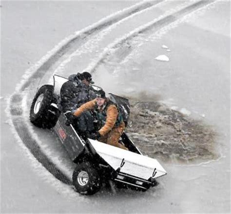 boat trailer wheel frozen dave orrick it s an atv it s an ice house it s a