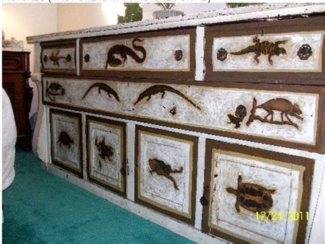 antique reptile decoupage buffet sideboard or dresser for