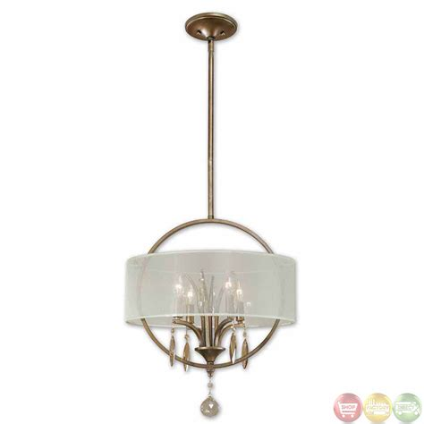 Drum Lighting Pendant Alenya Contemporary 4 Light Fabric Drum Pendant 21962
