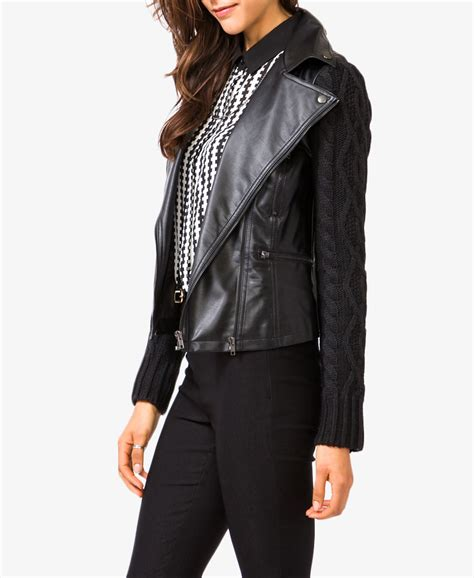 knit moto jacket forever 21 lyst forever 21 moto jacket with cable knit sleeves in black