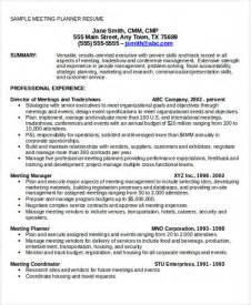 event planning resume sles 28 event planner resume event planner cv exle for