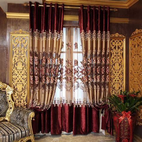 european draperies vintage european style red velvet faux silk embroidery