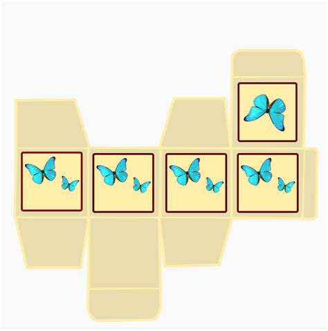 Printable Templates For Gift Boxes | free printable gift box blue butterfly ausdruckbare box